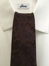 Exquisite ISAIA NAPOLI 7 FOLD Made in Italy Paisley Silk Necktie (Blue,Brown)