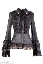 Pentagramme Long Sleeved Frilly Gothic Lolita Blouse Black