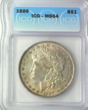 1889 WOW MS64>1889 MORGAN SILVER DOLLAR, ICG GRADED HIGH MS64 NICE RAINBOW TONES