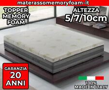 TOPPER CORRETTORE - MEMORY FOAM - ALTO 5 7 10 CM - SFODERABILE - ALOE VERA