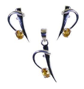 Opulence & Luxury 925 Sterling Yellow Pendant Set gift energy & invigoration AU