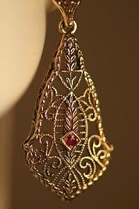 9K YELLOW GOLD RUBY CHANDELIER ART DECO VICTORIAN FILIGREE FLOWER EARRINGS 35MM