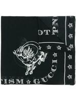 Gucci Mens Star Print Black Cotton Scarf With Dragon $475