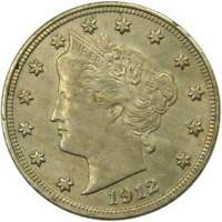 1912 Liberty Head V Nickel 5 Cent Piece AU About Uncirculated 5c US Coin