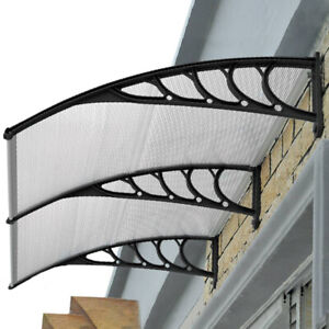 Door Window Awning Outdoor Canopy UV Patio Sun Shield Rain Cover 2x1M Black