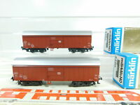 BS639-0,5# 2x Märklin H0/DC 4460 Schwenkdachwagen/Güterwagen DB NEUW; OVP