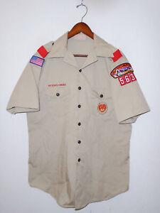 BOY SCOUTS Of America Insignia Uniform Shirt BSA #563 Vtg USA Scout Adult Men LG