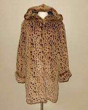 Dennis Basso Tan/Brown Animal Print Faux Fur Hooded Coat Size M