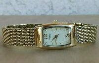 "Caravelle by Bulova Gold Tone Bracelet Watch 7 1/4"" Wrist New Battery C969701"