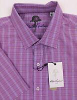 Robert Graham Bankfield Men's XL Casual Shirt Purple Plaid Short Sleeve New