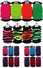 Ladies Retro UV Neon Plain// neon Stripe Crinkled Look Leg Warmers