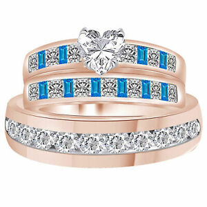 Heart Cut & Blue Simulated Diamond Trio Wedding Ring Band Set 10K Rose Gold