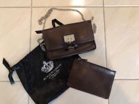 My Flat In London Brighton Brown Leather Flap Luxe Clutch/Purse Wallet Complete