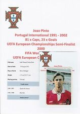 """JOAO PINTO PORTUGAL INT 1991-2002 ORIG SIGNED PORTUGUESE """"HEALTH & SPORT"""" CARD"""