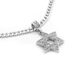 "Men Silver Plated Star Of David Cz Pendant Hip-Hop 24"" 6mm Cuban Necklace Chain"