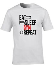 Gym T-Shirt Eat Sleep Repeat  Gift Idea Present Exercise Keep Fit Training