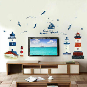 1x Lighthouse Wall Decal  Seaside Scenery Wall Vinyl Seagull Wall Stickers Decal