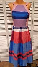 NWT EVA FRANCO COCONINNO Madras Plaid Halter-Neck Midi Dress Sz 2 Red White Blue