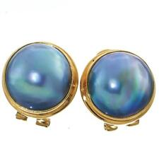 """11/16"""" BLUE MABE PEARL 24K GOLD PLATED 925 STERLING SILVER OMEGA POST earrings"""