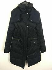 WOMENS NEXT NAVY BLUE ZIP UP PADDED FITTED LONG WARM WINTER COAT SIZE UK 12