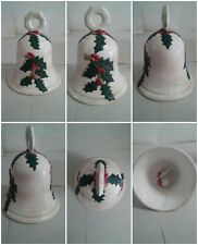 "Vintage Large Ceramic Holly Christmas Bell 8.5"" Tall"