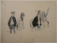 Dessin Illustration Originale MAURICE RADIGUET Scène de Genre 1900