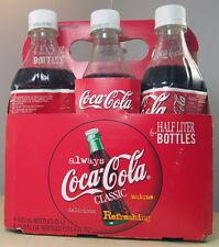 Coca Cola Coke 6 Pack Full 6.9 oz / .5 L Plastic Bottles Cardboard Carrier 1994