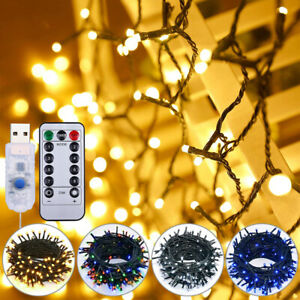 Remote USB Timer Dimmable 8 Modes Fairy Twinkle LED String Lights Christmas UK