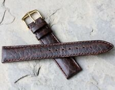 Hirsch 18mm padded & stitched camel grain Genuine Leather vintage watch band NOS