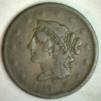 1839 Coronet Large Cent US Copper Type Coin Newcomb Variety N10 Fine Penny m5