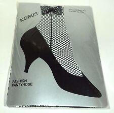 "KORUS BLACK Fishnet Pantyhose With Ankle Bow* Fits: 5'-5'8"" & 100-165 lbs. NIP"