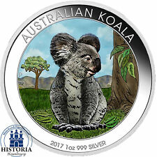 Australien 1 Dollar Silber 2017 Stgl Silbermünze Koala Bär in Farbe
