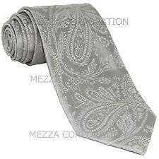New Vesuvio Napoli polyester Men's necktie paisley wedding formal prom Silver
