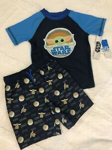 Boy's 5T Star Wars UPF 50+ Rash Guard Swim Shirt/ Trunks Set Yoda