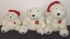 "3 Coca Cola White Polar Bear Plush Stuffed Red Santa Hat 1996 7""-11"" Emblem"