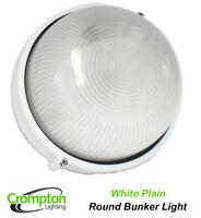Round White Plain Exterior Wall Bunker Light Ip44 Weatherproof Outdoor EX6100BW