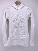 Lululemon Womens Pure Balance Jacket Hoodie White 2 / 4 Ruched Thumbholes