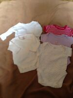 Bundle 5 Girls White Pink Body Vests Size 0 - 3 Months Good Condition