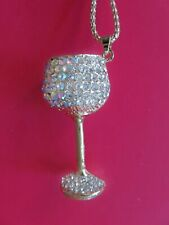 Sparkling Betsey Johnson Clear Rhinestone Wine Glass Goblet Pendant Necklace