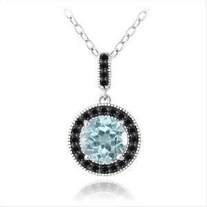 "925 Silver 3.25ct Blue Topaz & Black Spinel Round Necklace, 18"""