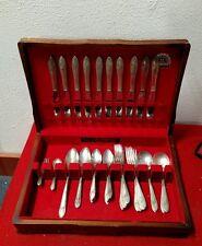 Oneida silverplate flatware set wood box, cutlery fork Tudor plate vintage spoon
