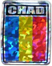 Wholesale Lot 12 Chad Country Flag Reflective Decal Bumper Sticker