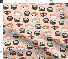 Kawaii Sushi Cute Japanese Food Pink Fast Fabric Printed by Spoonflower Bty