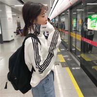 Korean College Women Turtleneck Stripe Long Sleeve T Shirt Thick Warm Top Blouse