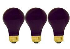 GE 60W Black Light Bulbs A19 Medium Base - QTY 3