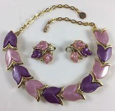 Vintage Designer Lisner? Pink Purple Tulip Thermo Plastic Necklace Earring Set