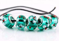 5pcs SILVER MURANO GLASS BEADS LAMPWORK Fit European Charm Bracelet Jewelry NEW