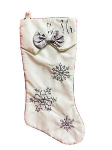 17 In L White Silver Embroidery Beads Ribbon  MR. Christmas Stocking