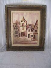 Antique Painting Oil on Canvas - Village Gates - Signed Kris Gentile