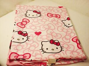 Hello Kitty Twin Flat Sheet Pink Sanrio Fabric Material Crafts or Curtain 58x96